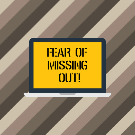 Text sign showing Fear Of Missing Out. Conceptual photo Afraid of losing something or someone stressed Laptop Monitor Personal Computer Device Tablet Blank Screen for Text Space
