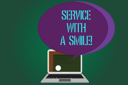 Word writing text Service With A Smile. Business concept for Happiness in custom assistance Motivated support Certificate Layout on Laptop Screen and Blank Halftone Color Speech Bubble