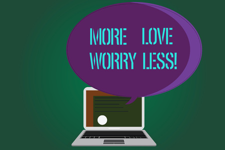 Word writing text Love More Worry Less. Business concept for Have a good attitude motivation be lovable enjoy life Certificate Layout on Laptop Screen and Blank Halftone Color Speech Bubble Stok Fotoğraf - 113763103