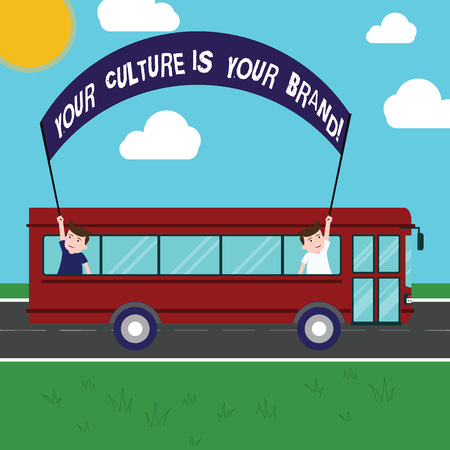 Text sign showing Your Culture Is Your Brand. Conceptual photo Knowledge Experiences are a presentation card Two Kids Inside School Bus Holding Out Banner with Stick on a Day Trip