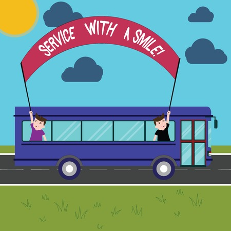 Conceptual hand writing showing Service With A Smile. Business photo showcasing Happiness in custom assistance Motivated support Two Kids Inside School Bus Holding Out Banner with Stick