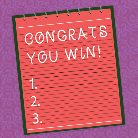 Word writing text Congrats You Win. Business concept for Congratulations for your accomplish competition winner Lined Spiral Top Color Notepad photo on Watermark Printed Background