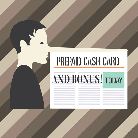 Handwriting text writing Prepaid Cash Card And Bonus. Concept meaning Money available in cards Payment services Man with a Very Long Nose like Pinocchio a Blank Newspaper is attached Stockfoto