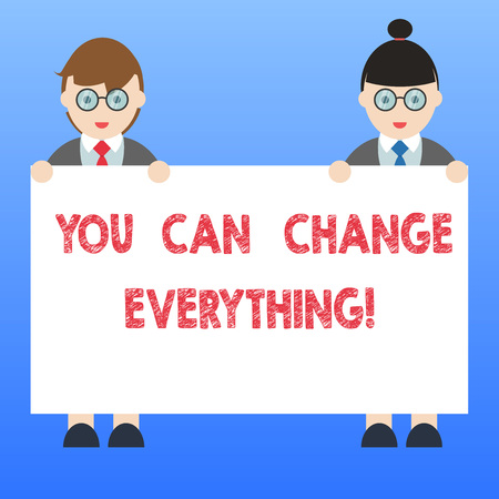 Handwriting text You Can Change Everything. Concept meaning In your hands are the changes you want to make Male and Female in Uniform Standing Holding Blank Placard Banner Text Space