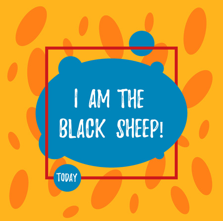 Text sign showing I Am The Black Sheep. Conceptual photo Different from others original unique in a group Asymmetrical Blank Oval photo Abstract Shape inside a Square Outline Stock Photo