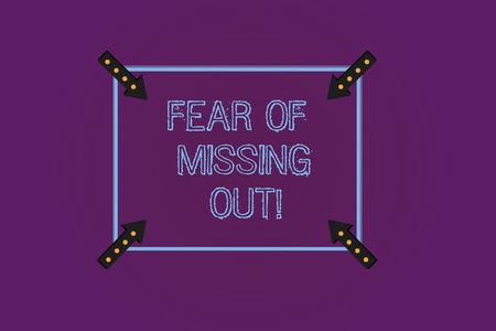 Writing note showing Fear Of Missing Out. Business photo showcasing Afraid of losing something or someone stressed Square Outline with Corner Arrows Pointing Inwards on Color Background Archivio Fotografico