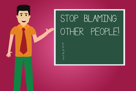 Word writing text Stop Blaming Other People. Business concept for Do not make excuses assume your faults guilt Man with Tie Standing Talking Presenting Blank Color Square Board photo