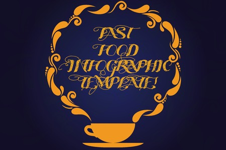 Text sign showing Fast Food Infographic Template. Conceptual photo Design diagrams for give information Cup and Saucer with Paisley Design as Steam icon on Blank Watermarked Space