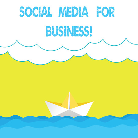 Writing note showing Social Media For Business. Business photo showcasing Making money by posting adds on the internet Wave Heavy Clouds and Paper Boat Seascape Scene Copy Space