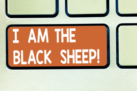 Text sign showing I Am The Black Sheep. Conceptual photo Different from others original unique in a group Keyboard key Intention to create computer message pressing keypad idea Stock Photo