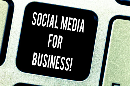 Writing note showing Social Media For Business. Business photo showcasing Making money by posting adds on the internet Keyboard key Intention to create computer message pressing keypad idea