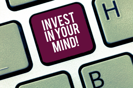 Writing note showing Invest In Your Mind. Business photo showcasing Get new knowledge more education improve yourself Keyboard Intention to create computer message keypad idea