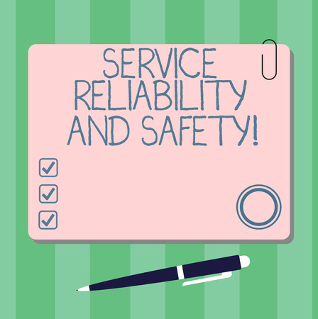 Writing note showing Service Reliability And Safety. Business photo showcasing Warranty assurance Security support Square Color Board with Magnet Click Ballpoint Pen and Clip Banque d'images