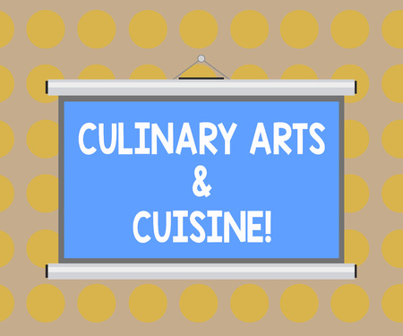 Word writing text Culinary Arts And Cuisine. Business concept for Chef preparing gourmet foods excellent recipes Blank Portable Wall Hanged Projection Screen for Conference Presentation