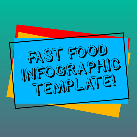 Handwriting text writing Fast Food Infographic Template. Concept meaning Design diagrams for give information Pile of Blank Rectangular Outlined Different Color Construction Paper