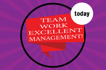 Conceptual hand writing showing Team Work Excellent Management. Business photo text Efficient Best good group direction Folded 3D Ribbon Strip inside Circle on Halftone Sunburst