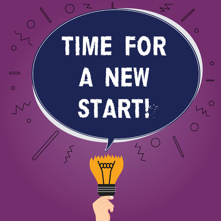 Text sign showing Time For A New Start. Conceptual photo Trust the magic of Beginnings fresh new Rebirth Blank Oval Color Speech Bubble Above a Broken Bulb with Failed Idea icon