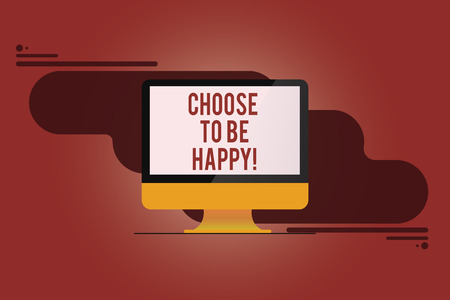 Word writing text Choose To Be Happy. Business concept for Decide being in a good mood smiley cheerful glad enjoy Mounted Computer Monitor Blank Reflected Screen on Abstract Background Stok Fotoğraf - 113859305