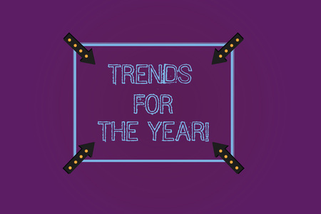 Writing note showing Trends For The Year. Business photo showcasing Modern trendy styles new designs fashion industry Square Outline with Corner Arrows Pointing Inwards on Color Background Stock Photo