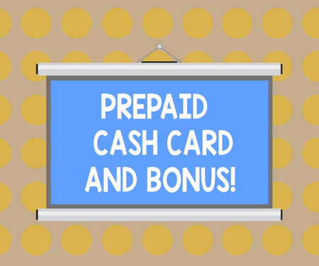Word writing text Prepaid Cash Card And Bonus. Business concept for Money available in cards Payment services Blank Portable Wall Hanged Projection Screen for Conference Presentation Foto de archivo