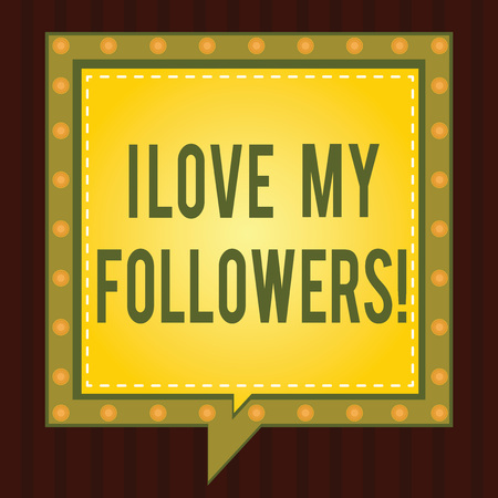 Conceptual hand writing showing I Love My Followers. Business photo showcasing Appreciation for showing who follows in social network Square Speech Bubbles Inside other with Broken Line Circles Stockfoto
