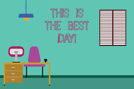 Conceptual hand writing showing This Is The Best Day. Business photo showcasing Motivation inspiration for a good moment enjoy Minimalist Interior Computer and Study Area Inside a Room
