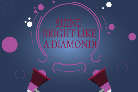 Word writing text Shine Bright Like A Diamond. Business concept for Be always cheerful brilliant glamorous Two Megaphone and Circular Outline with Small Circles on Color Background 스톡 콘텐츠