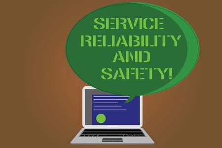 Writing note showing Service Reliability And Safety. Business photo showcasing Warranty assurance Security support Certificate Layout on Laptop Screen and Halftone Speech Bubble