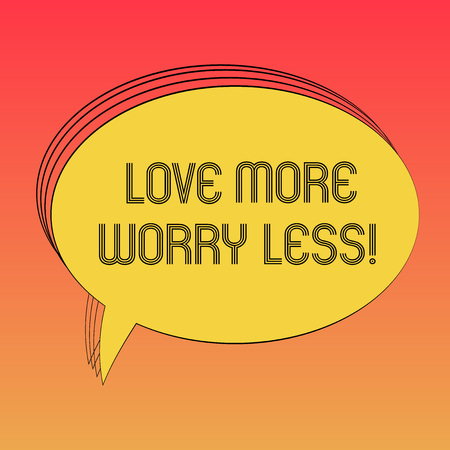Conceptual hand writing showing Love More Worry Less. Business photo text Have a good attitude motivation be lovable enjoy life Oval Outlined Solid Color Speech Bubble Empty Text Balloon photo Banco de Imagens