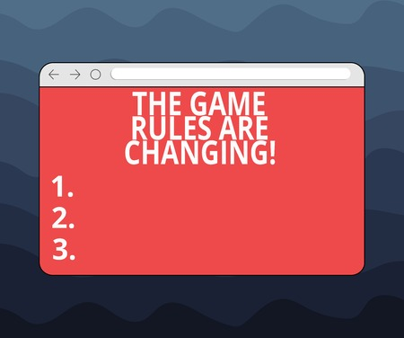 Writing note showing The Game Rules Are Changing. Business photo showcasing Changes in established competition agreements Monitor Screen with Progress Control Bar Blank Text Space