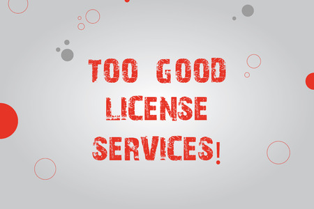 Text sign showing Too Good License Services. Conceptual photo Transportation vehicle legal permission assistance Blank Rectangle with Round Light Beam in Center and Various Size Circles Stock Photo