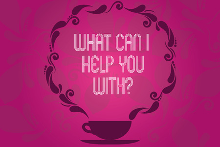 Handwriting text What Can I Help You Withquestion. Concept meaning Offering support assistance guidance Cup and Saucer with Paisley Design as Steam icon on Blank Watermarked Space Stok Fotoğraf
