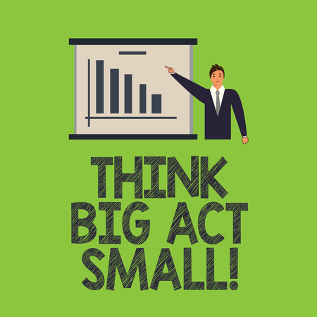 Word writing text Think Big Act Small. Business concept for Make little steps to slowly reach your biggest goals Man in Business Suit Standing Pointing a Board with Bar Chart Copy Space