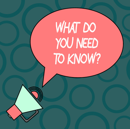 Text sign showing What Do You Need To Knowquestion. Conceptual photo Tell us things for learning Knowledge Blank Oval Outlined Speech Bubble Text Balloon Megaphone with Sound icon