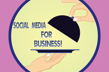 Writing note showing Social Media For Business. Business photo showcasing Making money by posting adds on the internet Hu analysis Hands Serving Tray Platter and Lifting the Lid 写真素材