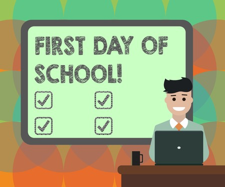 Word writing text First Day Of School. Business concept for Return to classroom Study again Education Motivation Blank Bordered Board behind Man Sitting Smiling with Laptop Mug on Desk 스톡 콘텐츠