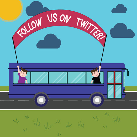 Conceptual hand writing showing Follow Us On Twitter. Business photo showcasing Invitation to join social media and look for tweets Two Kids Inside School Bus Holding Out Banner with Stick