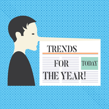 Conceptual hand writing showing Trends For The Year. Business photo text Modern trendy styles new designs fashion industry Man with a Long Nose like Pinocchio a Newspaper is attached Stockfoto