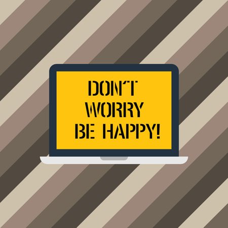 Text sign showing Don T Worry Be Happy. Conceptual photo Cheerful be positive relaxed inspired motivated Laptop Monitor Personal Computer Device Tablet Blank Screen for Text Space Stok Fotoğraf - 113864430