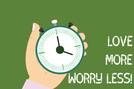 Conceptual hand writing showing Love More Worry Less. Business photo showcasing Have a good attitude motivation be lovable enjoy life Hu analysis Hand Holding Stop Watch Timer Start Stop Button
