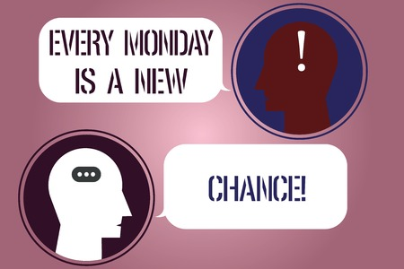 Writing note showing Every Monday Is A New Chance. Business photo showcasing Start your week with positivism Motivation Messenger Room with Chat Heads Speech Bubbles Punctuations Mark icon