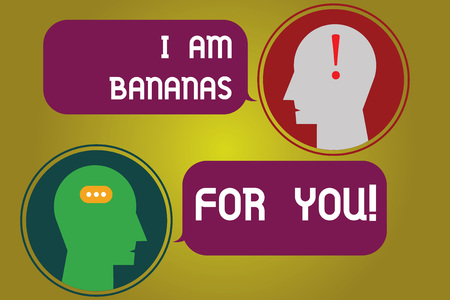 Text sign showing I Am Bananas For You. Conceptual photo To be crazy for someone in loved happy emotion Messenger Room with Chat Heads Speech Bubbles Punctuations Mark icon 免版税图像
