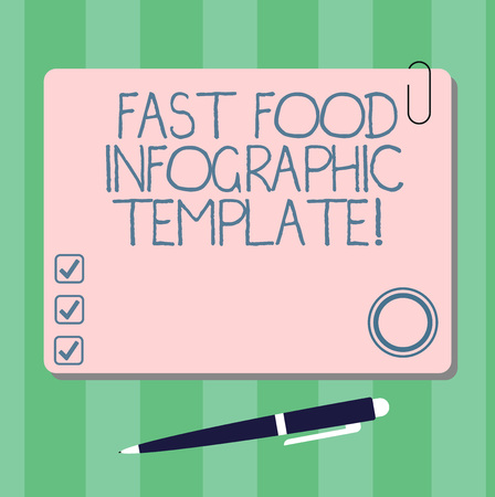 Writing note showing Fast Food Infographic Template. Business photo showcasing Design diagrams for give information Square Color Board with Magnet Click Ballpoint Pen and Clip