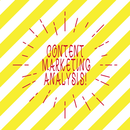 Handwriting text writing Content Marketing Analysis. Concept meaning focus on attracting attention and generate leads Thin Beam Lines Spreading out Dash of Sunburst Radiating on Diagonal Strips Stock Photo