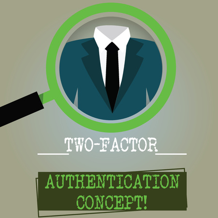 Conceptual hand writing showing Two Factor Authentication Concept. Business photo text two ways of proving your identity Magnifying Glass Enlarging a Tuxedo and Label Tag Below 스톡 콘텐츠