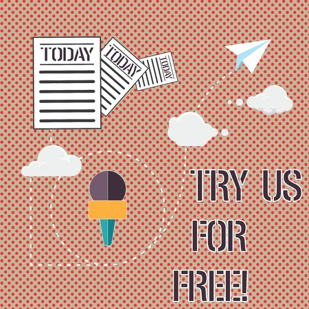 Word writing text Try Us For Free. Business concept for Trial at not any cost Offer promotion big discount Information and Documents Passing thru Cloud Hosting Fast delivery of Data