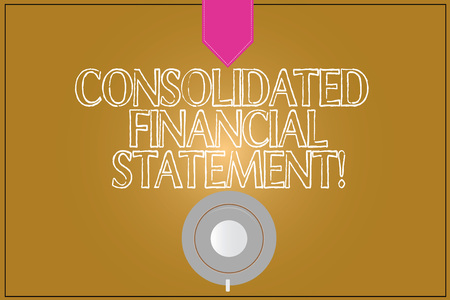 Text sign showing Consolidated Financial Statement. Conceptual photo Total health of a whole group of companies Coffee Cup Saucer Top View photo Reflection on Blank Color Snap Planner