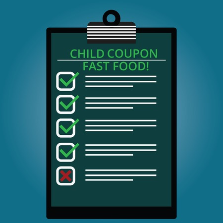 Writing note showing Child Coupon Fast Food. Business photo showcasing Ticket discount savings junk meals for kids Lined Color Vertical Clipboard with Check Box photo Blank Copy Space