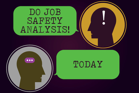 Text sign showing Do Job Safety Analysis. Conceptual photo Business company security analytics control Messenger Room with Chat Heads Speech Bubbles Punctuations Mark icon