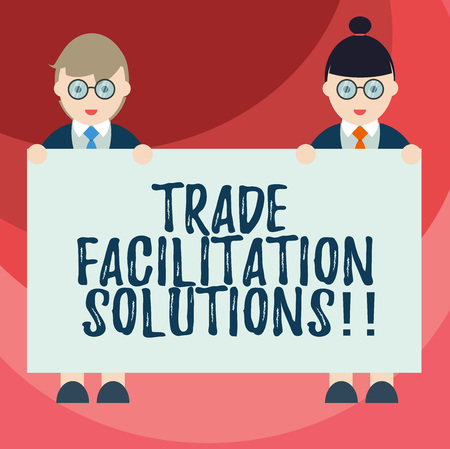 Text sign showing Trade Facilitation Solutions. Conceptual photo harmonisation of international trade procedures Male and Female in Uniform Standing Holding Blank Placard Banner Text Space